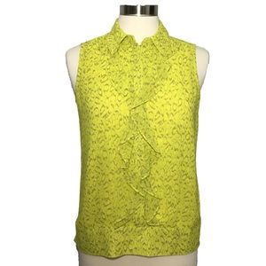 Cabi #3071 Reign Blouse High Low Ruffle Chartreuse